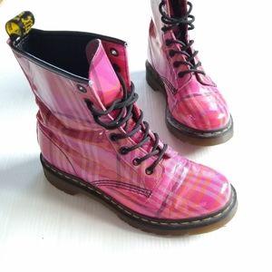 DR MARTENS • 1460 pink plaid lace-up boots